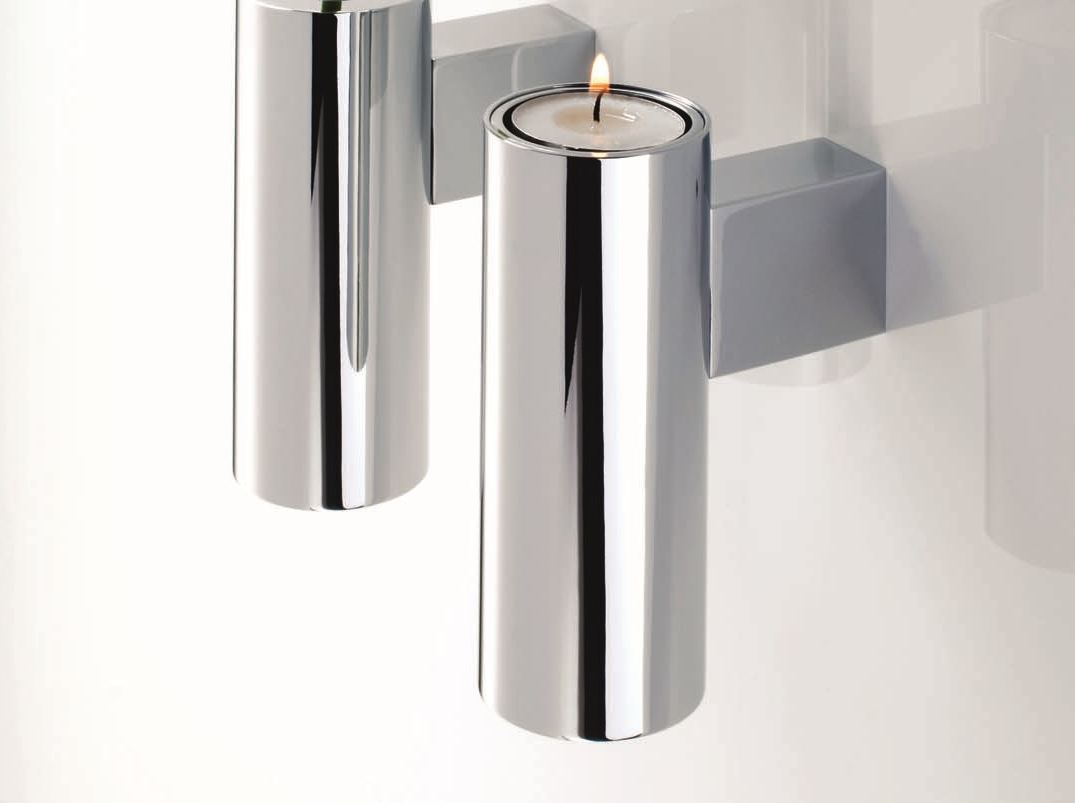 CHROME PLATED CANDLE HOLDER TB VKH TUBE COLLECTION BY ... on Decorative Wall Sconces Candle Holders Chrome id=75350