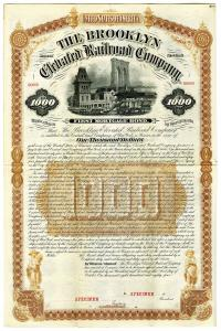 Brooklyn Elevated Railroad Co. 1884 Specimen Bond Rarity. Brooklyn, New York. 1884. $1000 Specimen 6% First Mortgage Bond, Black text with brown border and undertint, View of the Brooklyn Bridge in distance depicted at top center. Red specimen overprints,