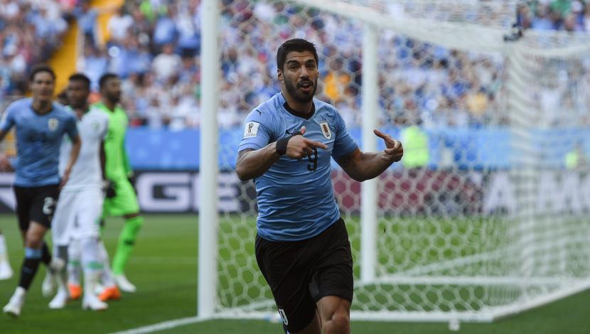 Luis Suárez marcó su primer gol en el Mundial en el Uruguay vs. Arabia Saudita