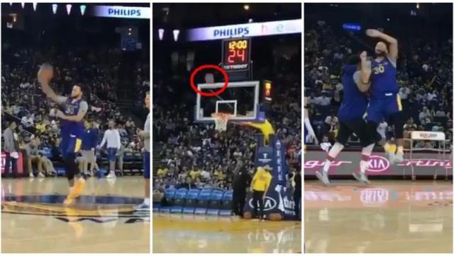 YouTube: Stephen Curry logró lo imposible y encestó desde media cancha y de espaldas | VIDEO. (Video: YouTube/Foto: Captura de pantalla)