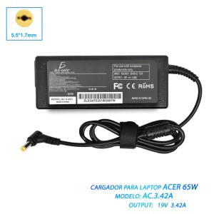 Cargador Laptop Acer Aspire Punta Amarilla 19v 3.42a 65w 5.5*1.7mm