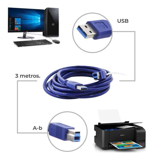 Cable Usb 3.0 A-b Para Impresora O Disco Duro 5M