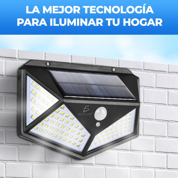 Lámpara Solar 100 Leds Sensor Movimiento Exterior