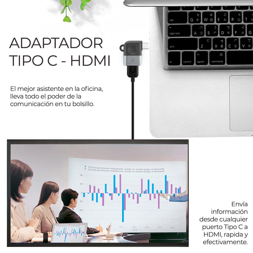 laptop con adaptador conectado y una presentación