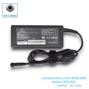 Cargador Laptop Compatible Asus 65W 19v 3.42a 4.0*1.35mm