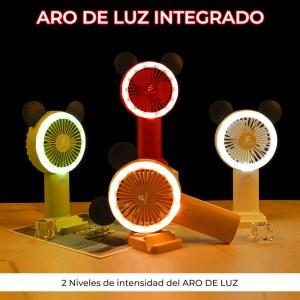 Mini Ventilador Recargable Con Luz RGB Forma de Mickey