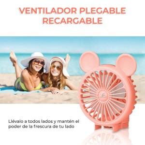 Mini Ventilador Personal Plegable Y Recargable Color Rosa