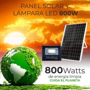 Reflector Led 800w C/ Panel Solar-control Luz Blanca Exterior
