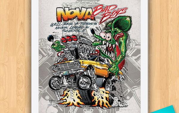 quadro poster com moldura rat rod rat fink dragster