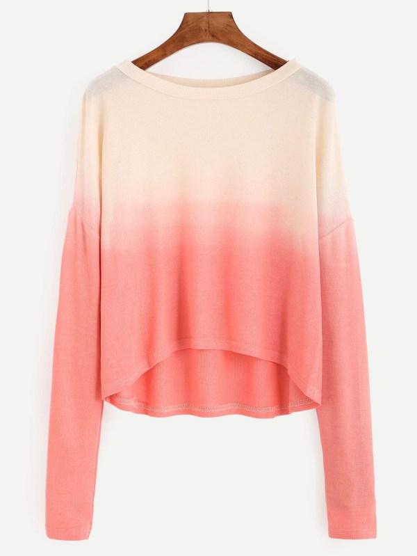 Contrast Ombre Drop Shoulder High Low T-shirt EmmaCloth ...