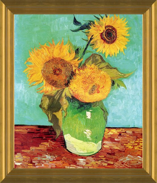 three sunflowers in a vase 1888 by vincent van gogh fine art print