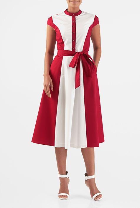 eShakti Women's Cotton poplin colorblock belted midi shirtdress