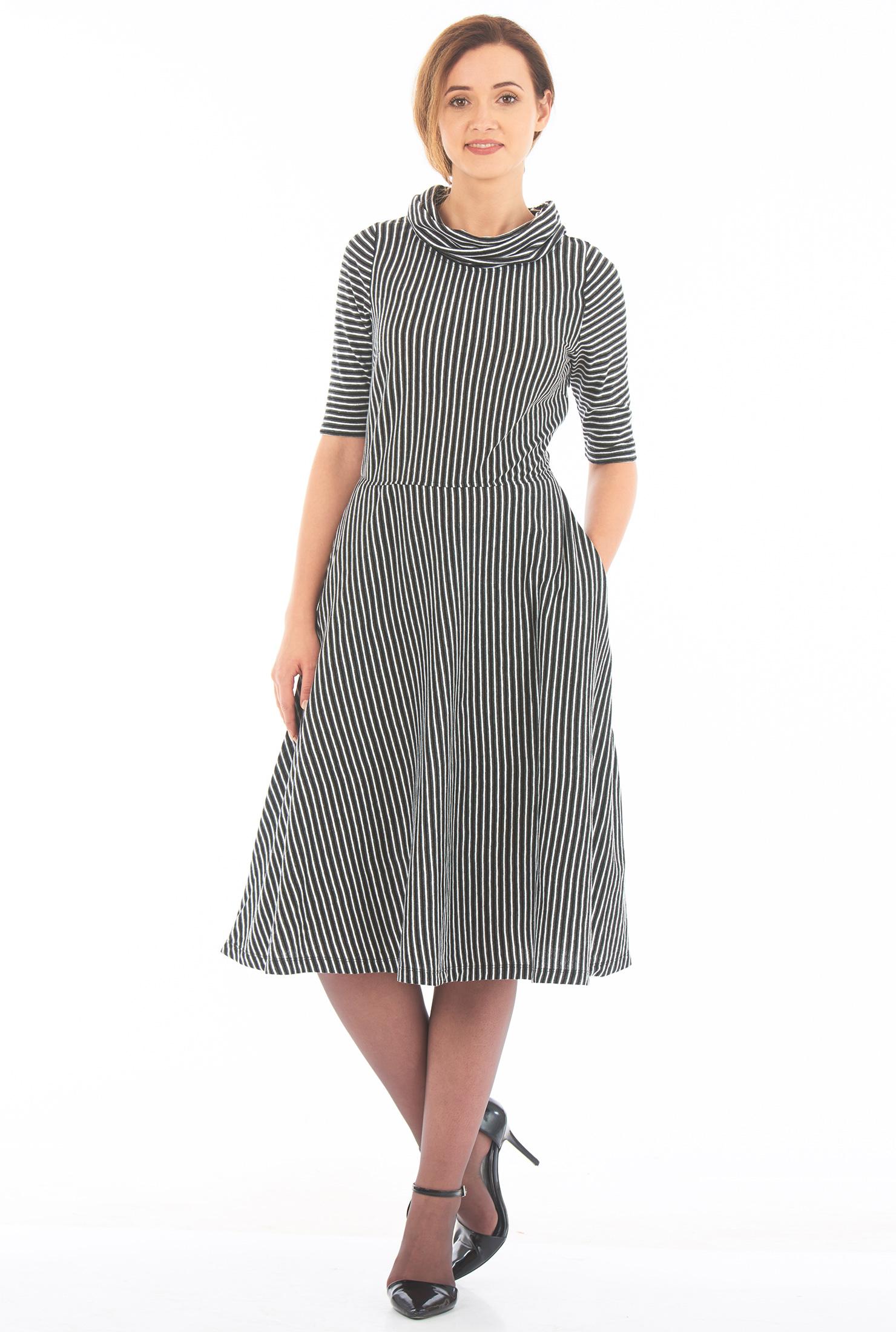eShakti Women's Cowl neck stripe cotton knit dress