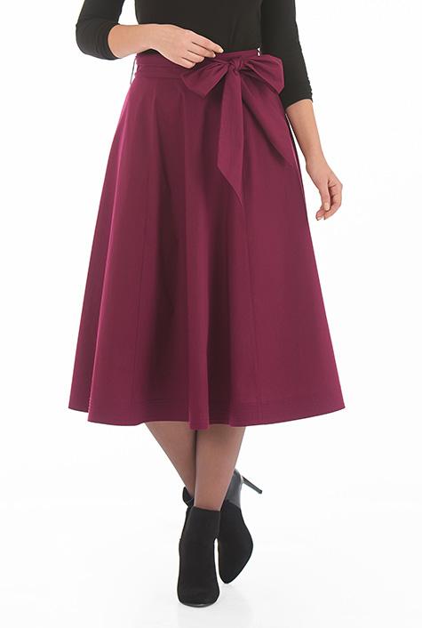 eShakti Women's Sash tie stretch poplin midi skirt