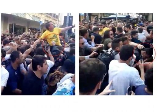 Jair Bolsonaro foi esfaqueado durante agenda de campanha em Juiz de Fora (esq.); suspeito é preso (dir.). Foto: Reprodução/Redes Sociais