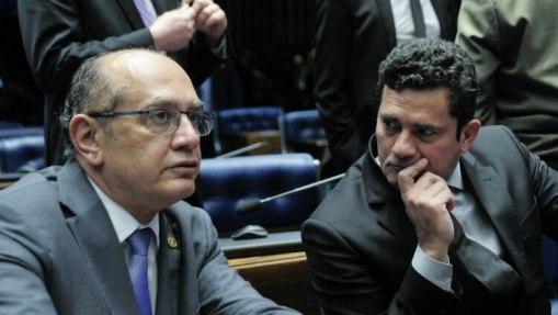 Foto de arquivo: Gilmar e Moro se encontraram em debate da Lei de Abuso de Autoridade no Senado, em 2016 - Geraldo Magela/Agência Senado