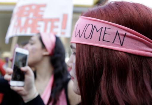 Manifestação realizada durante o Dia Internacional da Mulher em 2017