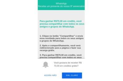 1b71af6d6eeaa Golpe no WhatsApp oferece promoção por suposto aniversário do app
