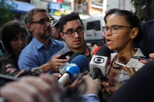 Marina Silva, da Rede, conversa com a imprensa em São Paulo