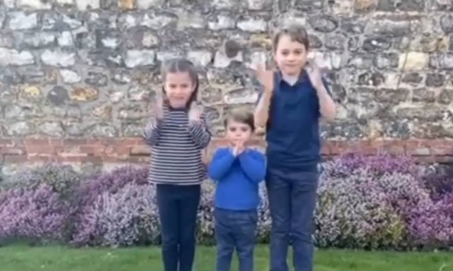 Princes Charlotte, Louis and George clapped for healthcare workers