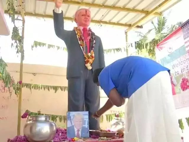 Image result for Indian man makes Donald Trump status, worships it as his God