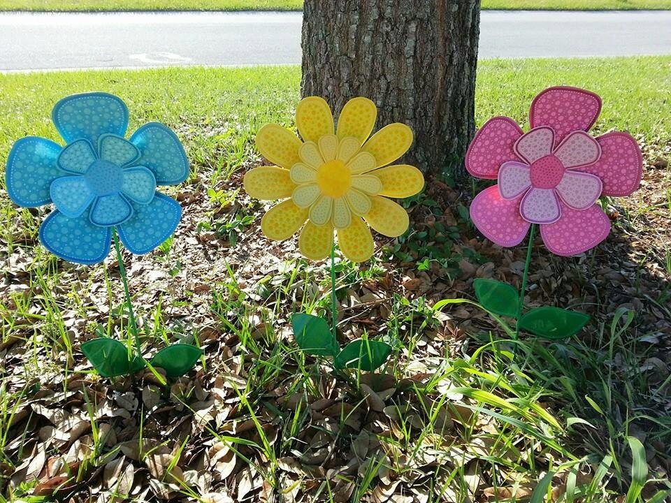 Metal Flower Garden Stake Outdoor Metal Flowers Garden Art