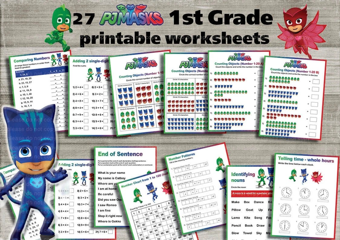 Instand Dl Pj Masks 1st Grade Printable Worksheets Package