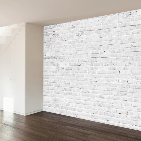White Washed Faux Brick Decal by WallsNeedLove