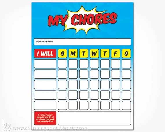 Boys Superhero Printable Chore Chart