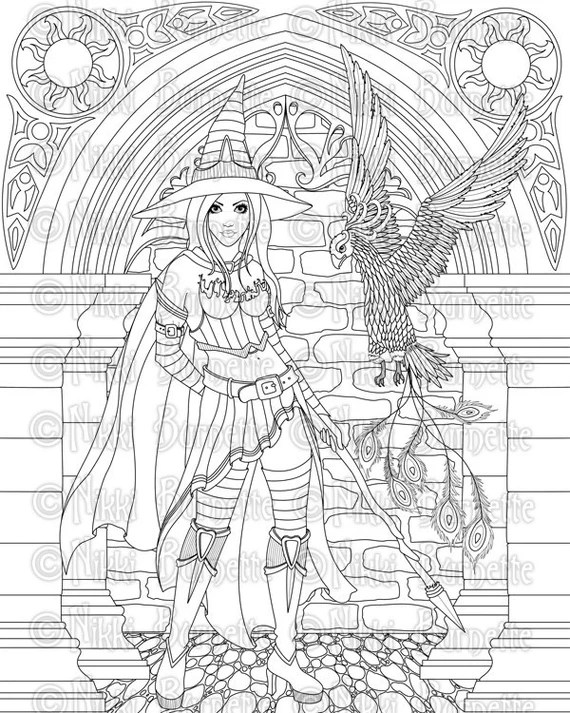 digital stamp printable coloring page witch stamp adult