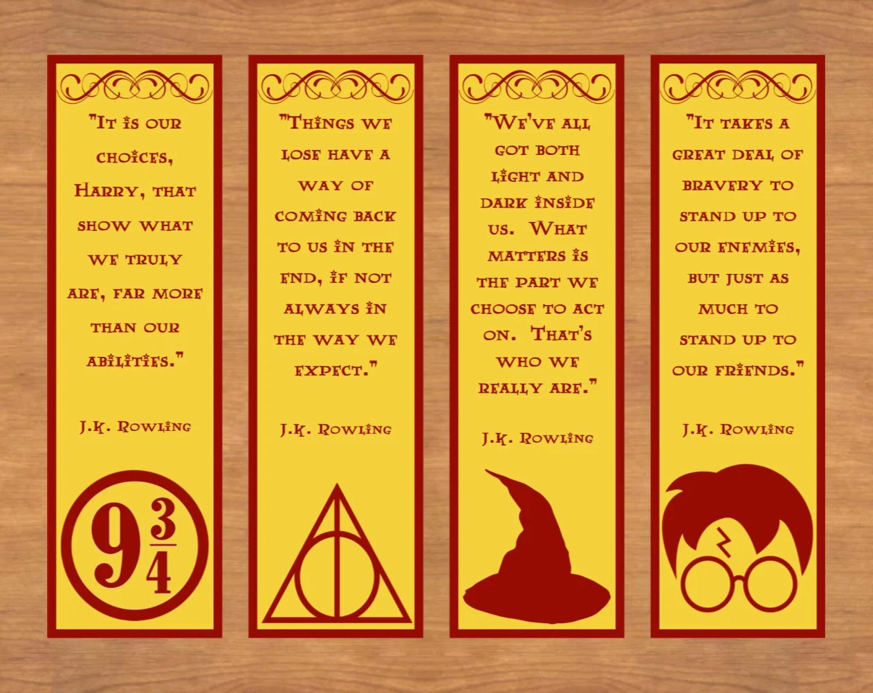 Printable Bookmarks Harry Potter Bookmarks Printable Quote