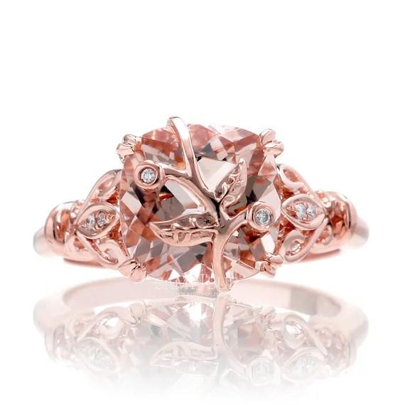 Morganite Diamond Vintage Leaf And Vine Design Engagement