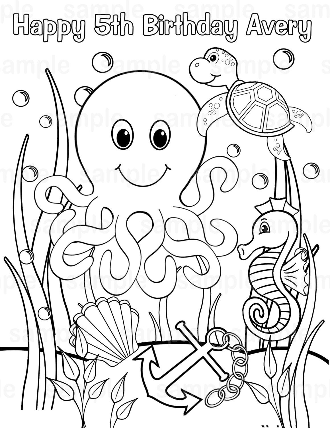Personalized Printable Under The Sea Birthday Party Favor