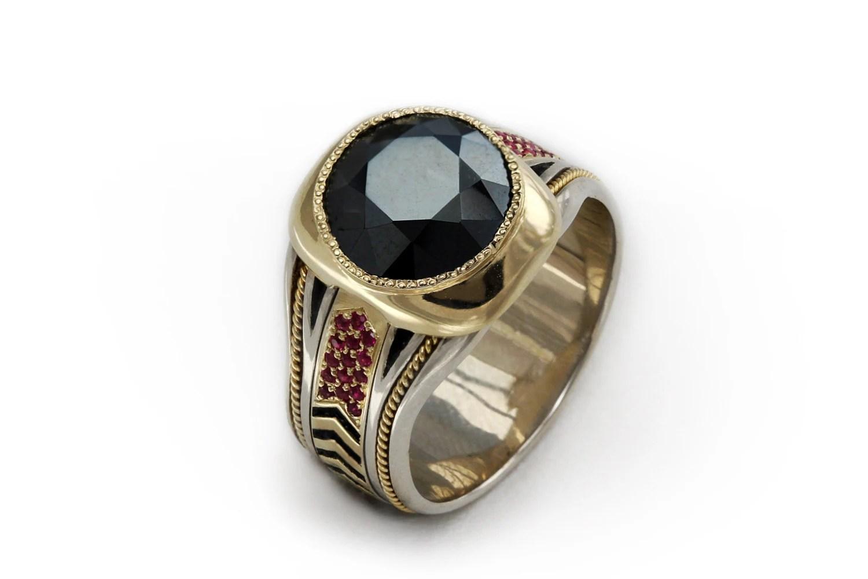 Black Spinel 14k Gold Mens Ring Gemstone Cocktail Ring
