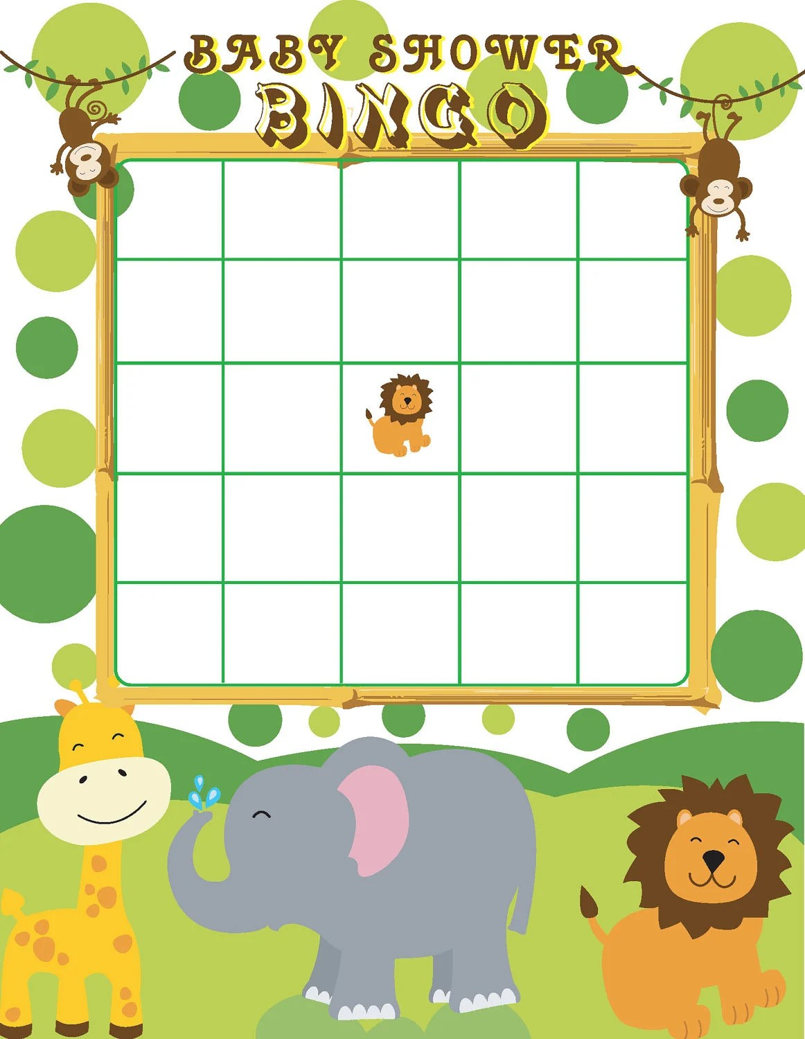 Printable Jungle Themed Baby Shower Bingo