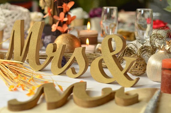 Wedding MR.. And. MRS.. Unpainted Painted Or Glitter Letters