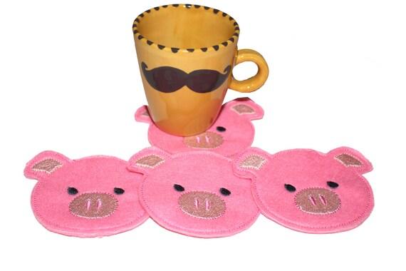 CO-004 - 4x4 hoop COASTER - Pig - Machine Embroidery Design File, digital download
