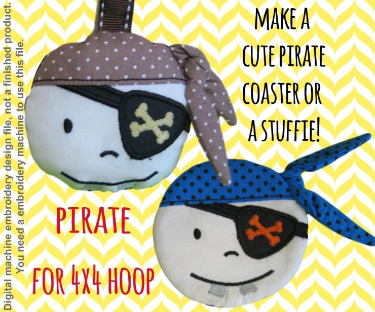 Pirate coaster OR softie - 4x4 hoop - ITH - In The Hoop - Machine Embroidery Design File, digital download