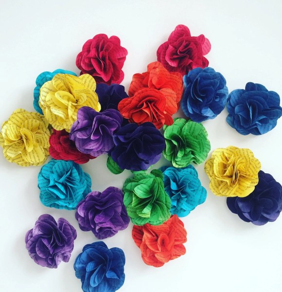3 Dyed Book Page Flowers paper flowers rainbow birthday