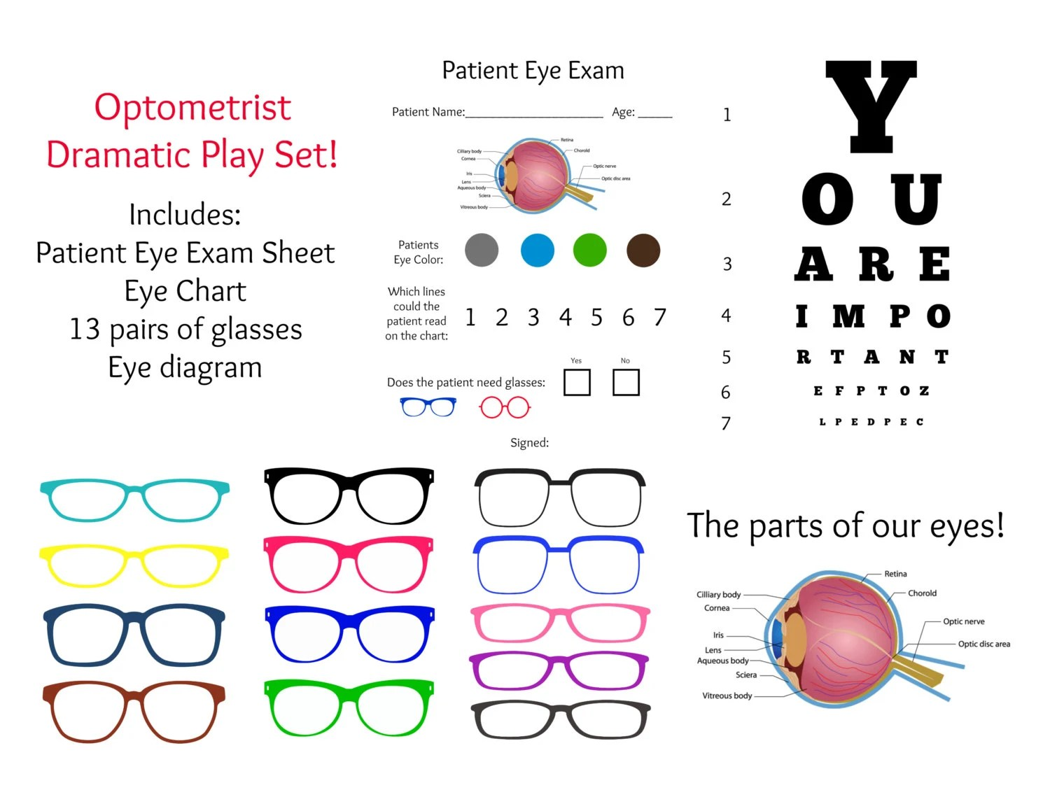 Instant Download Dramatic Play Optometrist Eye Doctor Exam