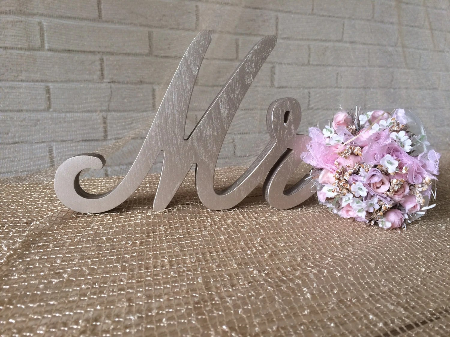 Script Font Wood Sign Mrs And Mr For Wedding Table Champagne