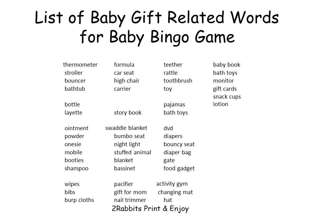 Baby Shower Gift Bingo List Gift Ftempo