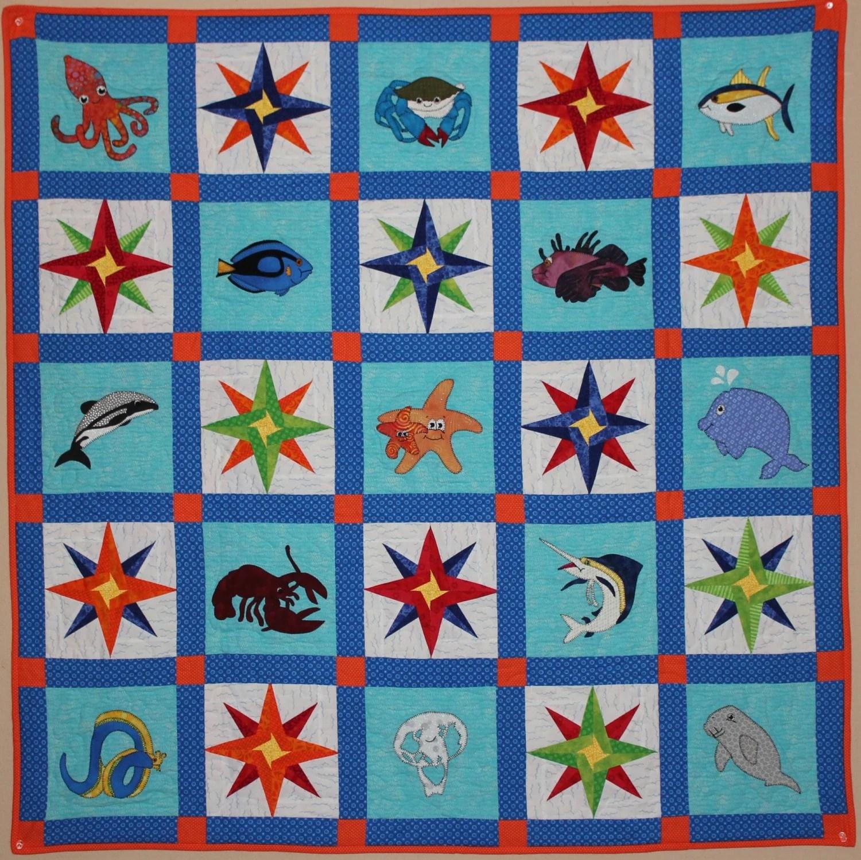 Ocean Animal Applique Quilt Pattern Foundation Paper