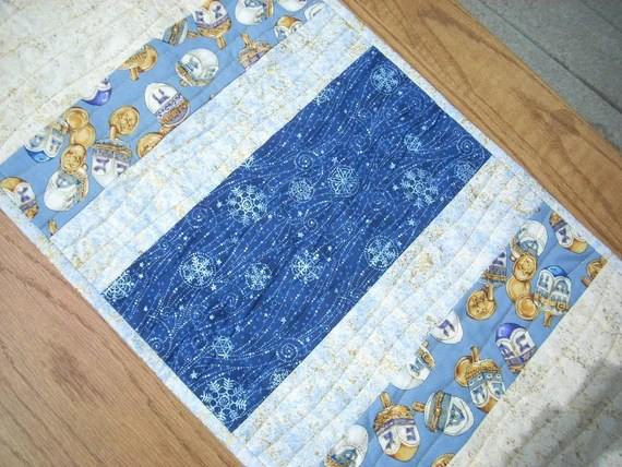 Blue Stars for Hanukkah tablerunner - FREE SHIPPING