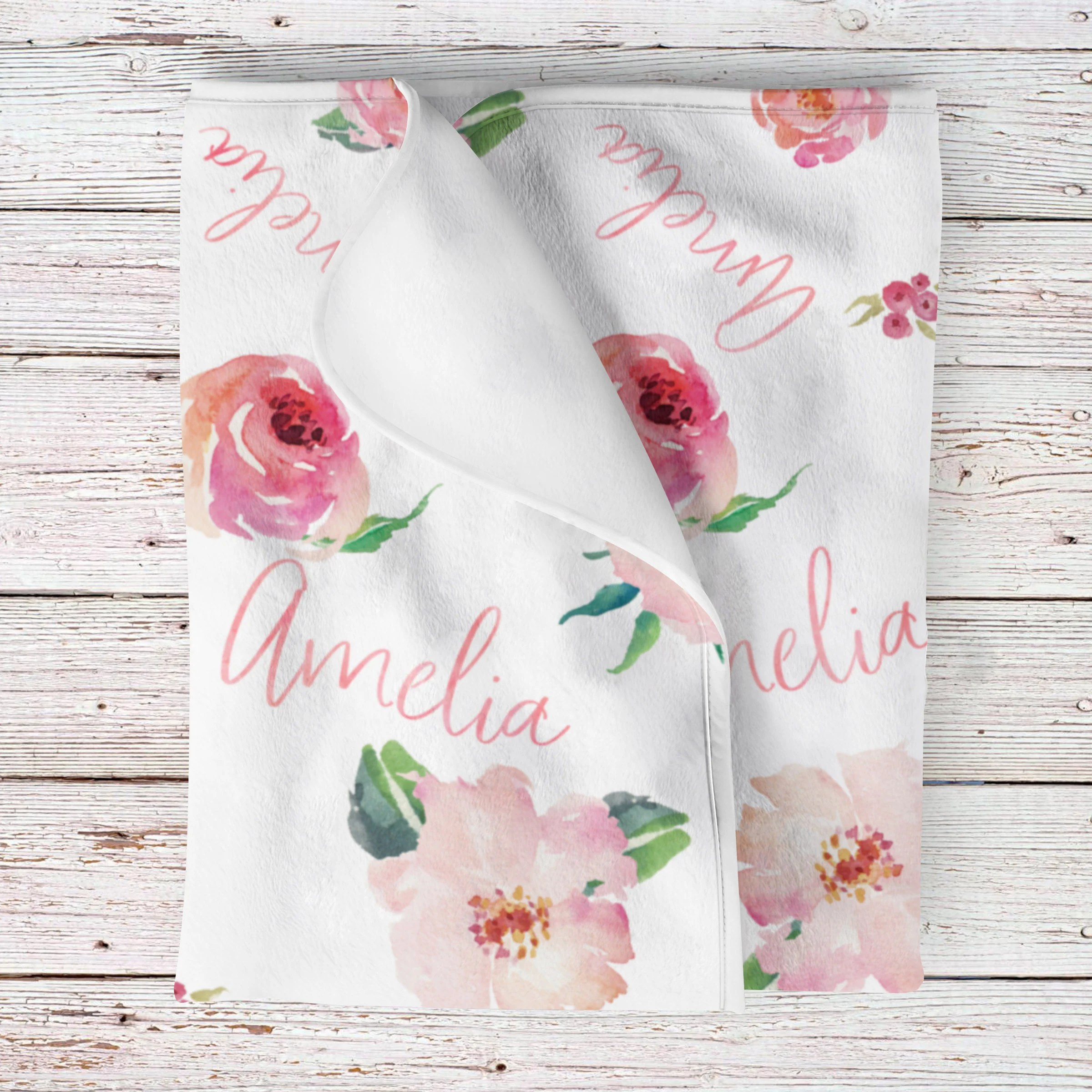 Personalized Floral Baby Blanket by LoveableGiftCo for Baby Girl Shower Gift Ideas