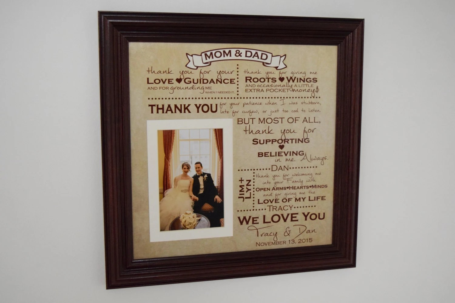 Thank You Wedding Parents Gifts Parents Gift Grooms Parents