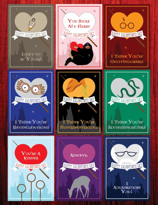 SALE Harry Potter Valentines Cute Designs Perfect for