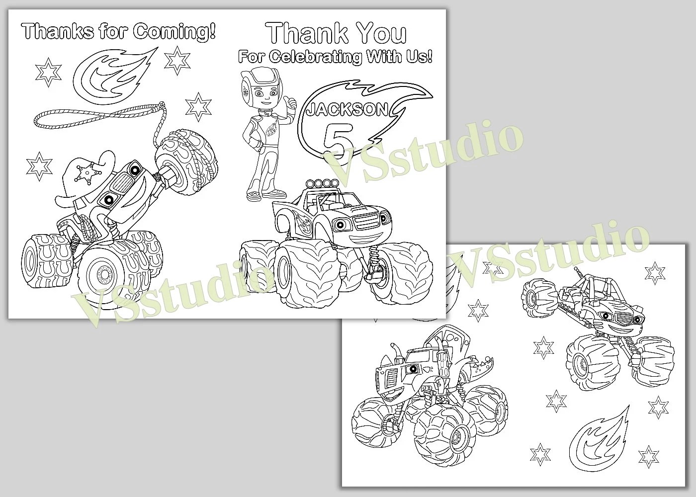 Blaze And The Monster Machines Birthday Thank You Coloring