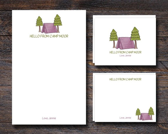 Custom Camp Stationery for Kids - PINK
