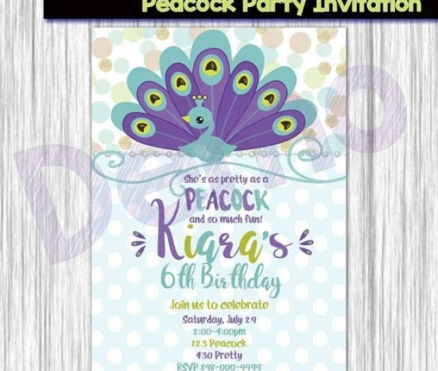 Off Peacock Party Invitation Peacock Invitation Peacock Birthday Party Invitation